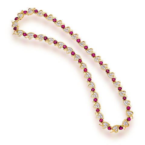 "A ruby and diamond ""Ivy"" necklace, Tiffany & Co."