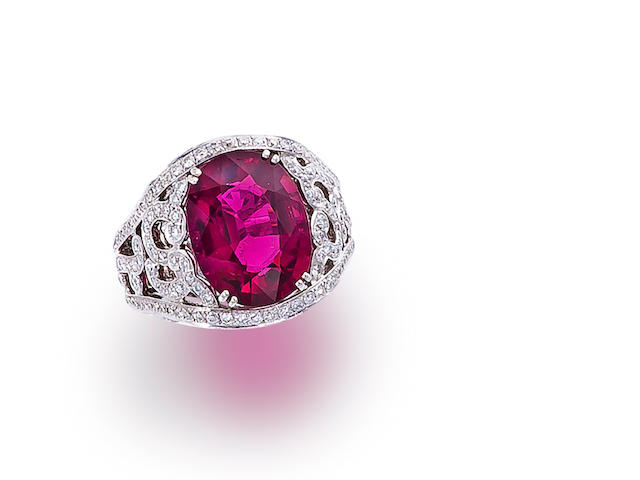 A rubellite and diamond ring, Garrard