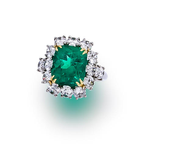 An emerald and diamond ring, Garrard