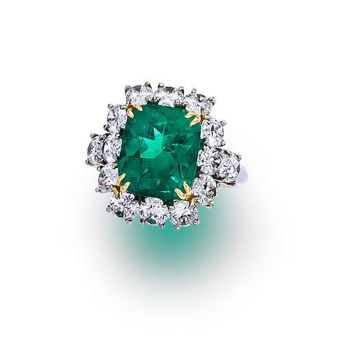 An emerald and diamond ring, Garrard