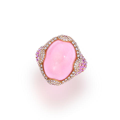 A pink opal, diamond and pink sapphire ring, Asprey