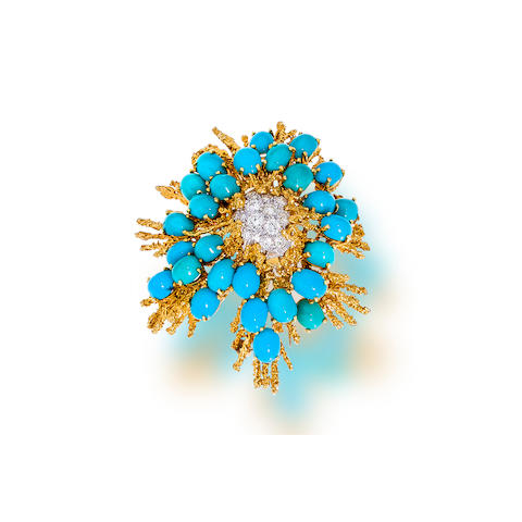 A turquoise and diamond brooch, Tiffany & Co.