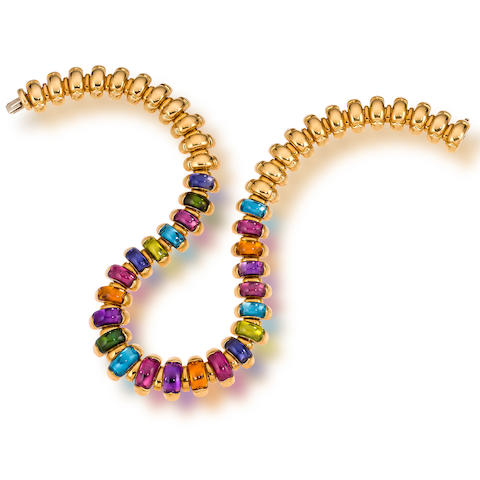 "An eighteen karat gold and gem-set ""Celtaura"" necklace, Bulgari"