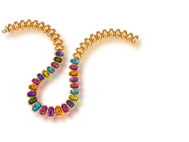 """An eighteen karat gold and gem-set """"Celtaura"""" necklace, Bulgari"""
