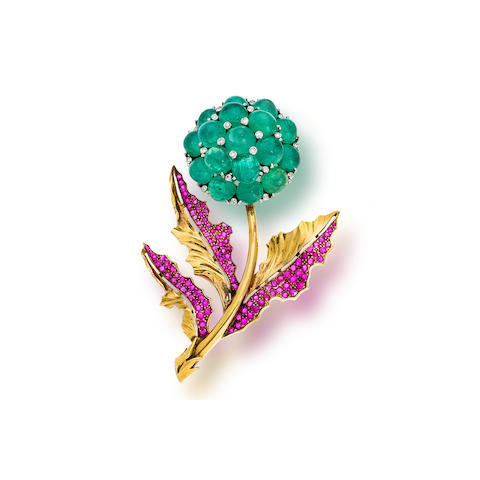 "A retro emerald, ruby and diamond ""Reflection"" brooch Trabert & Hoeffer-Mauboussin,"