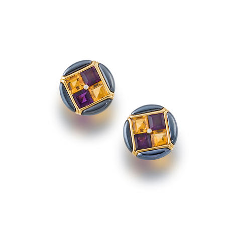 "A pair of gem-set ""Carré"" earclips, Bulgari,"