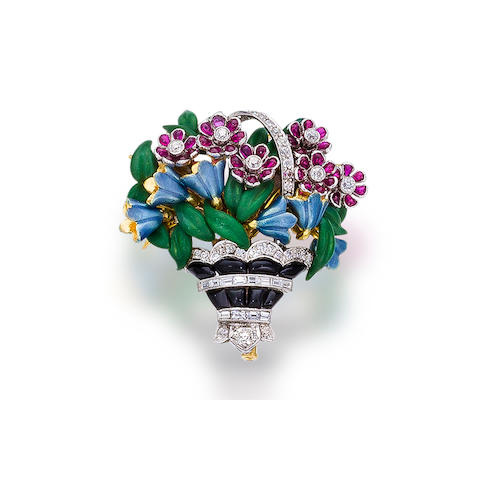 An enamel, diamond and gem-set brooch