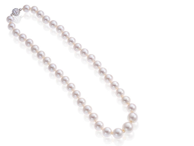A South Sea cultured pearl and diamond necklace