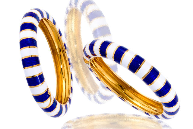 A pair of enamel bangle bracelets, Van Cleef & Arpels, French,