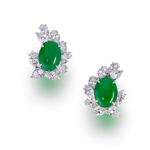 A pair of jadeite jade and diamond earclips