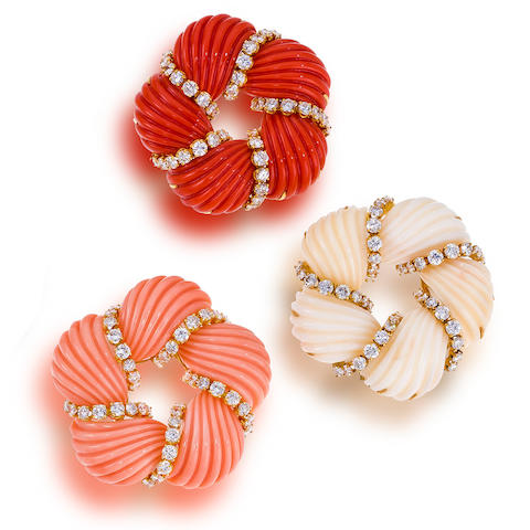 A set of three  coral and diamond pendant brooches