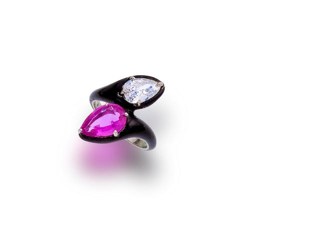 A pink sapphire, diamond and enamel ring