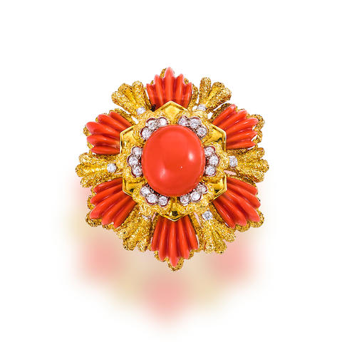 A coral and diamond pendant brooch, Wander,