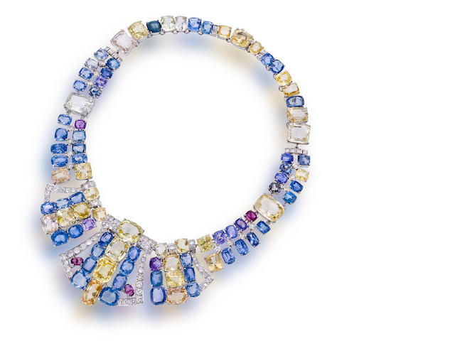 A multi-colored sapphire and diamond necklace