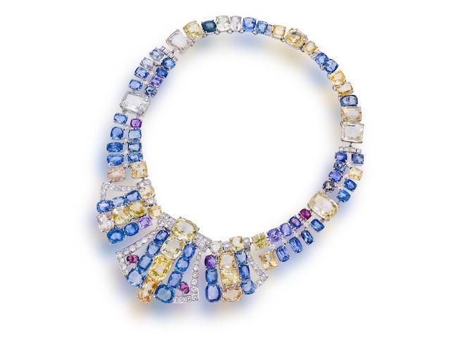 A multi-colored sapphire and diamond necklace