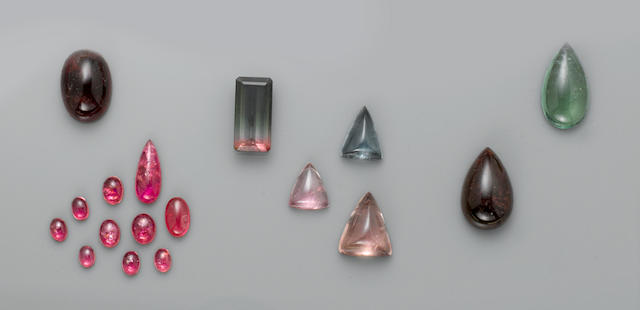Group of Tourmaline Cabochons and a Bi-Color Tourmaline