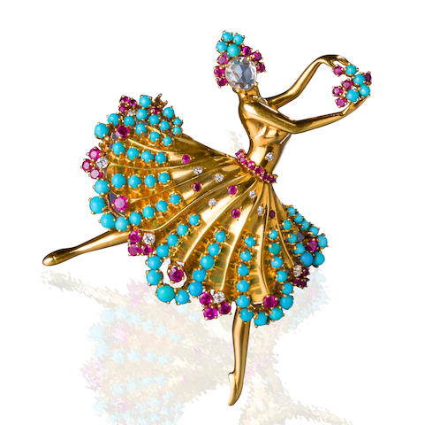 "A diamond, ruby, and turquoise ""Clip Danseuse""  brooch, Van Cleef & Arpels,"
