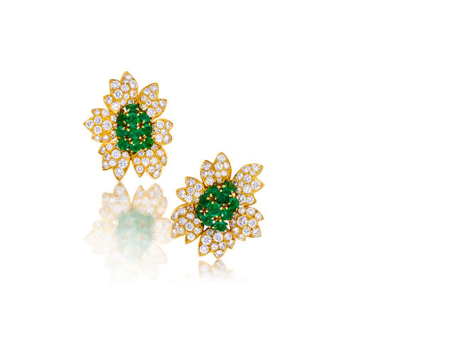 A pair of diamond and emerald earclips, Van Cleef & Arpels,