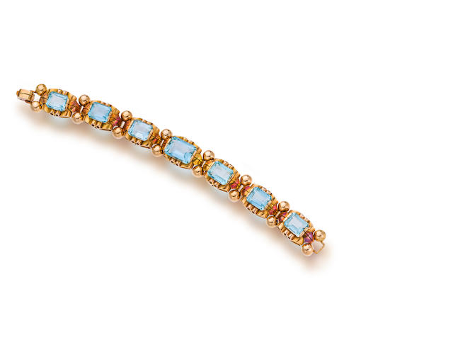 A retro eighteen karat rose gold and gem-set bracelet, Boucheron, France,