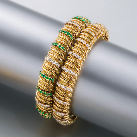 Two eighteen karat gold and gem-set bracelets, Van Cleef & Arpels,