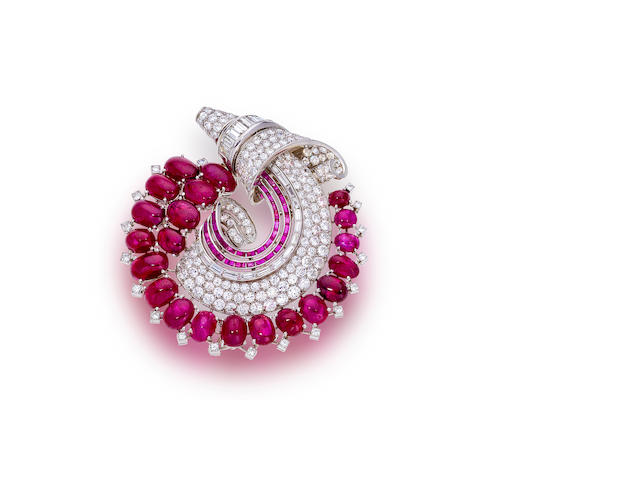 An art moderne diamond and ruby brooch, Trabert & Hoeffer-Mauboussin,