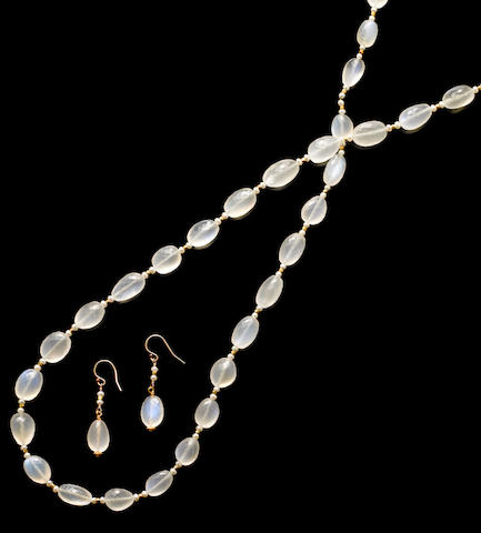 Moonstone and Seed Pearl Convertible Necklace and Matching Earrings