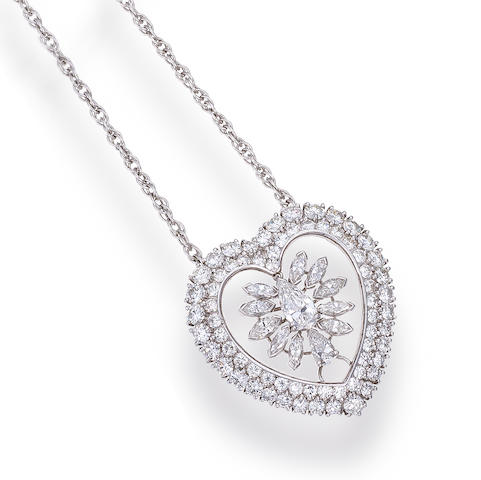 A platinum and diamond pendant