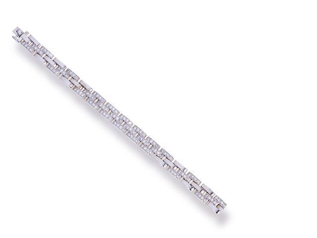 "A diamond and eighteen karat white gold ""Maillon Panthère"" bracelet, Cartier, French"