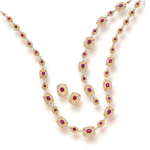 A ruby and diamond suite, Cartier, French