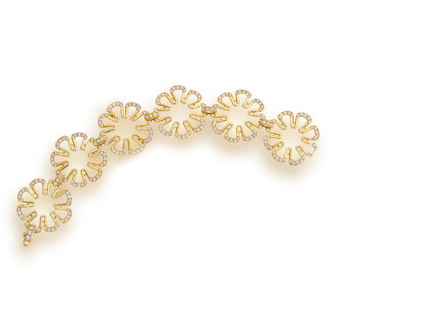 "An eighteen karat gold and diamond ""Flower Power"" bracelet, Paul Morelli"