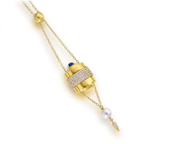 "An eighteen karat gold, diamond and gem-set ""Pill Box"" pendant necklace, Paul Morelli"