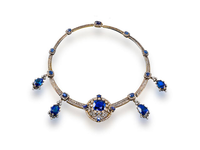 An antique sapphire and diamond necklace