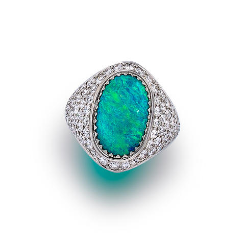 A black opal and diamond ring