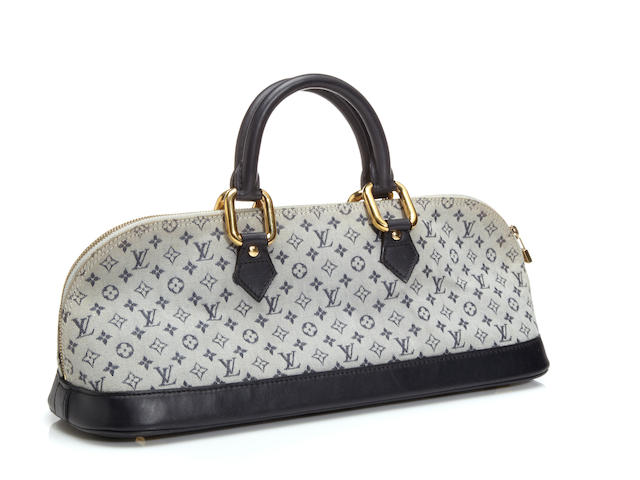 A Louis Vuitton mini monogram denim Alma long handbag