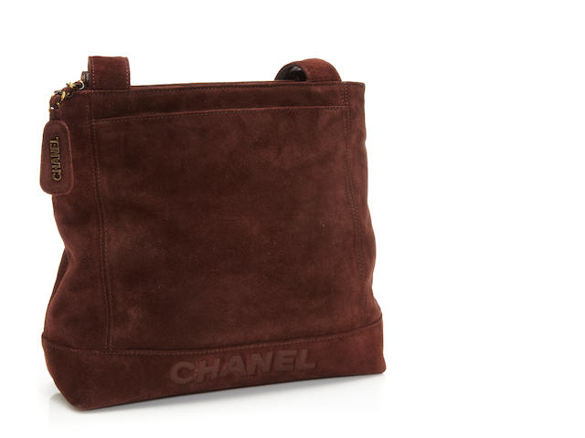 A Chanel brown suede shoulder bag