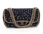 A Chanel navy blue 'fantasy tweed' handbag