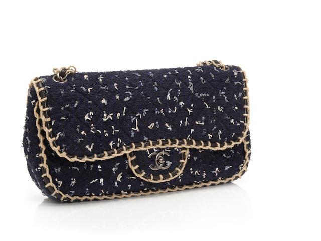 A Chanel navy blue 'fantasy tweed' handbag