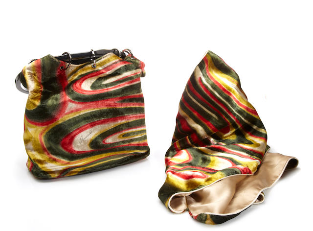 A Gucci velvet handbag with matching scarf
