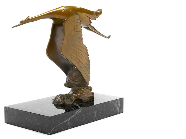 A Hispano-Suiza Flying Stork showroom display bronze after Frederik Bazin,