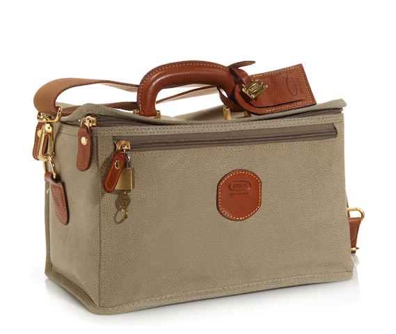 A Bric's sage and tan leather train case