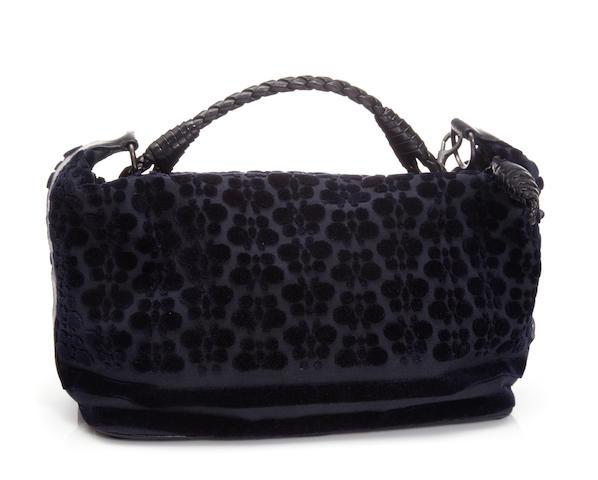 A Botega Veneta navy blue cut velvet handbag