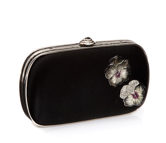 A Judith Leiber black satin and crystal minaudière