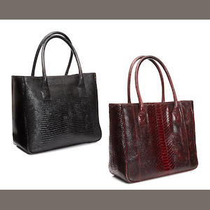 Two lizard and snake skin handbags
