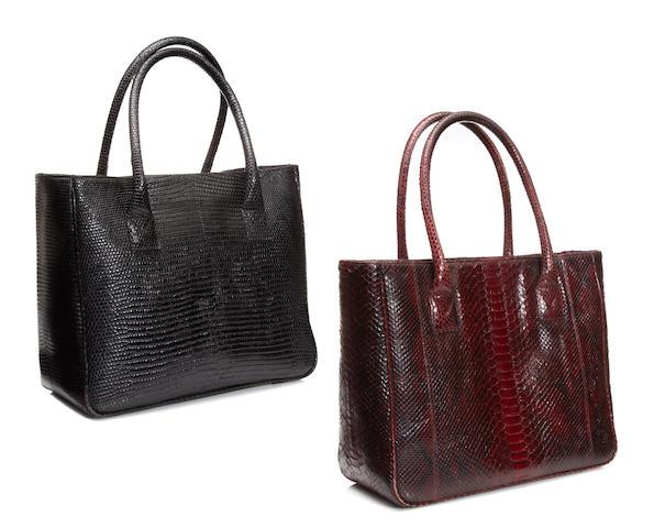 Two lizard and snake skin handbags