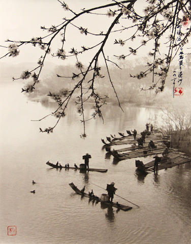 Don Hong-Oai (Chinese, 1929-2004); Array of Bamboo Boats, Wenzhou;