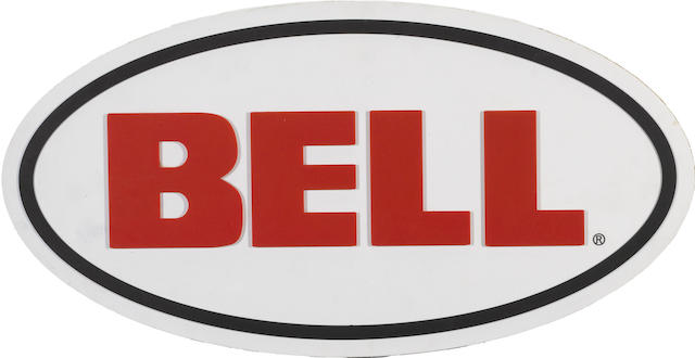 A Bell Helmet dealer sign,
