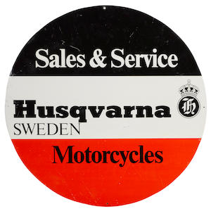 A Husqvarna motorcycles sales and service sign, c.1950s,