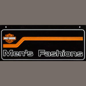 A Harley-Davidson Mens fashion sign,