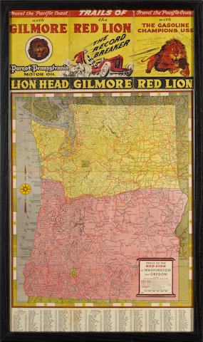 A Gilmore gasoline roadmap, c. 1930s,