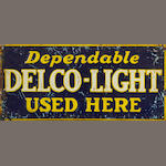 A rare Delco Dependable Light sign, c. 1930s,